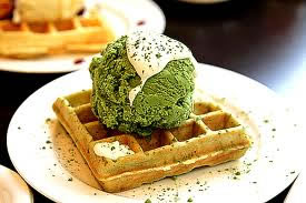 Bodhis Fibre Rich Pancake Waffles with Green Tea Yoghurt Ice Cream